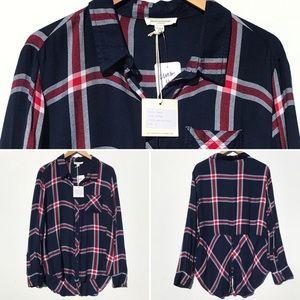 NWT BEACH LUNCH LOUNGE plaid blouse